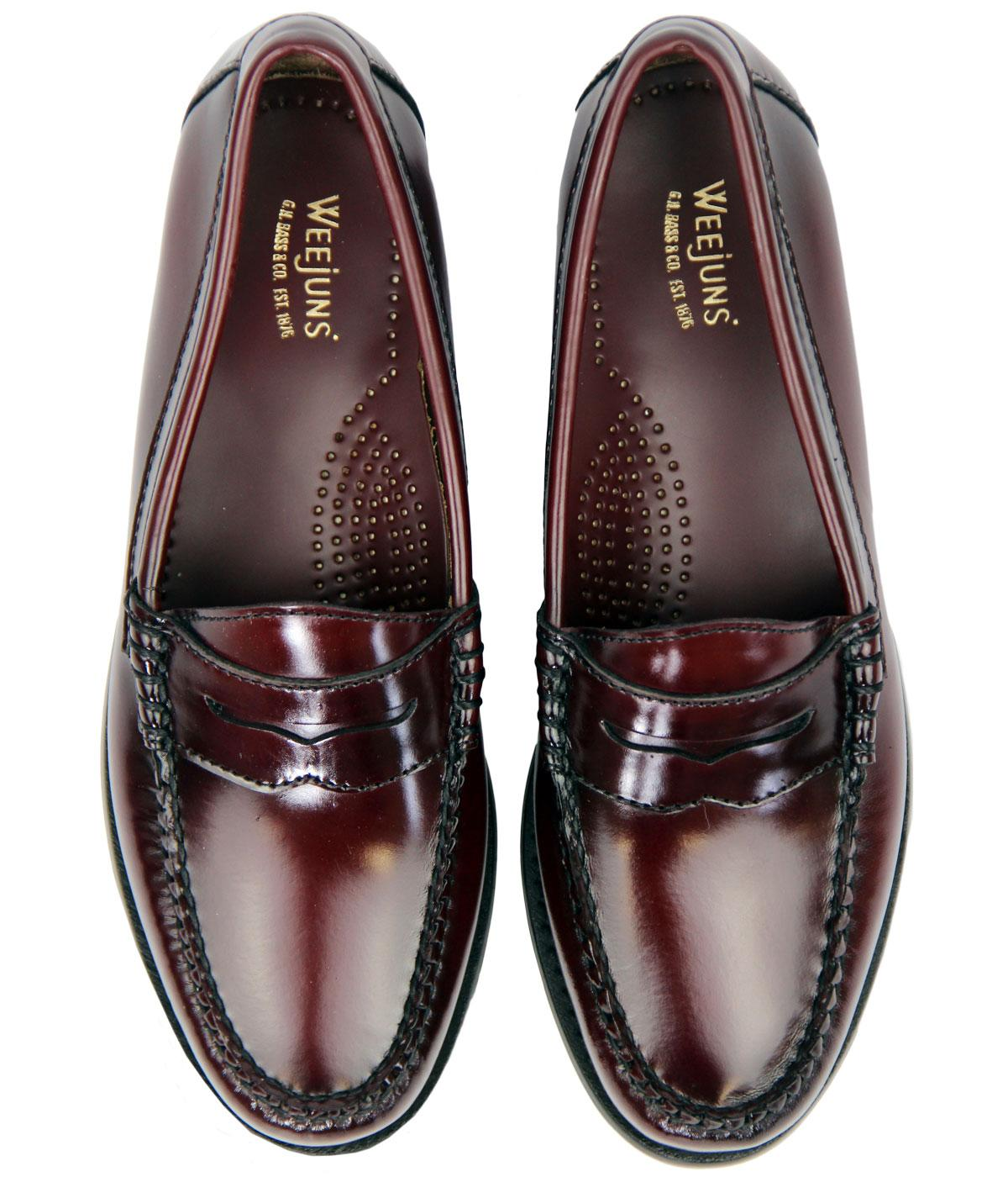 BASS WEEJUNS Womens Retro 60s Mod Wine Leather Penny Loafers