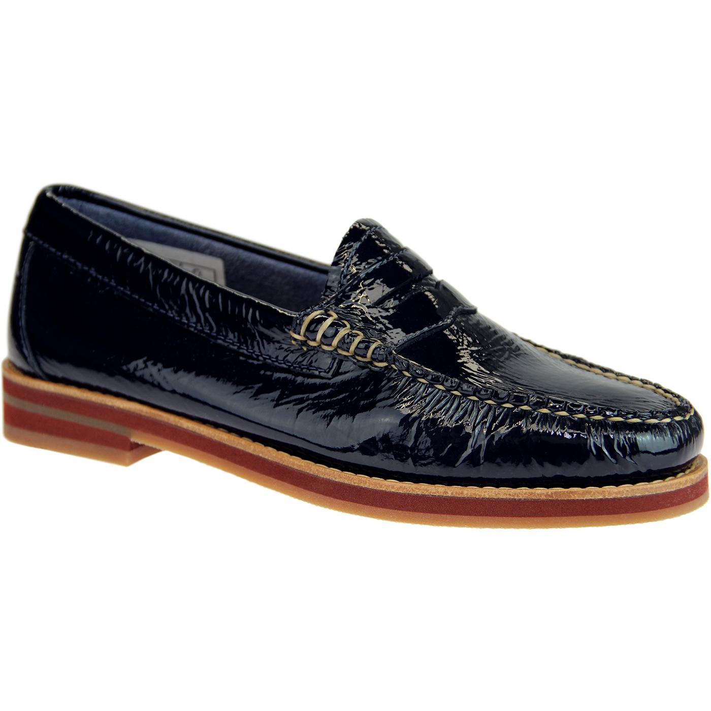 Spring BASS WEEJUNS 60s Penny Wrinkle Loafers NAVY