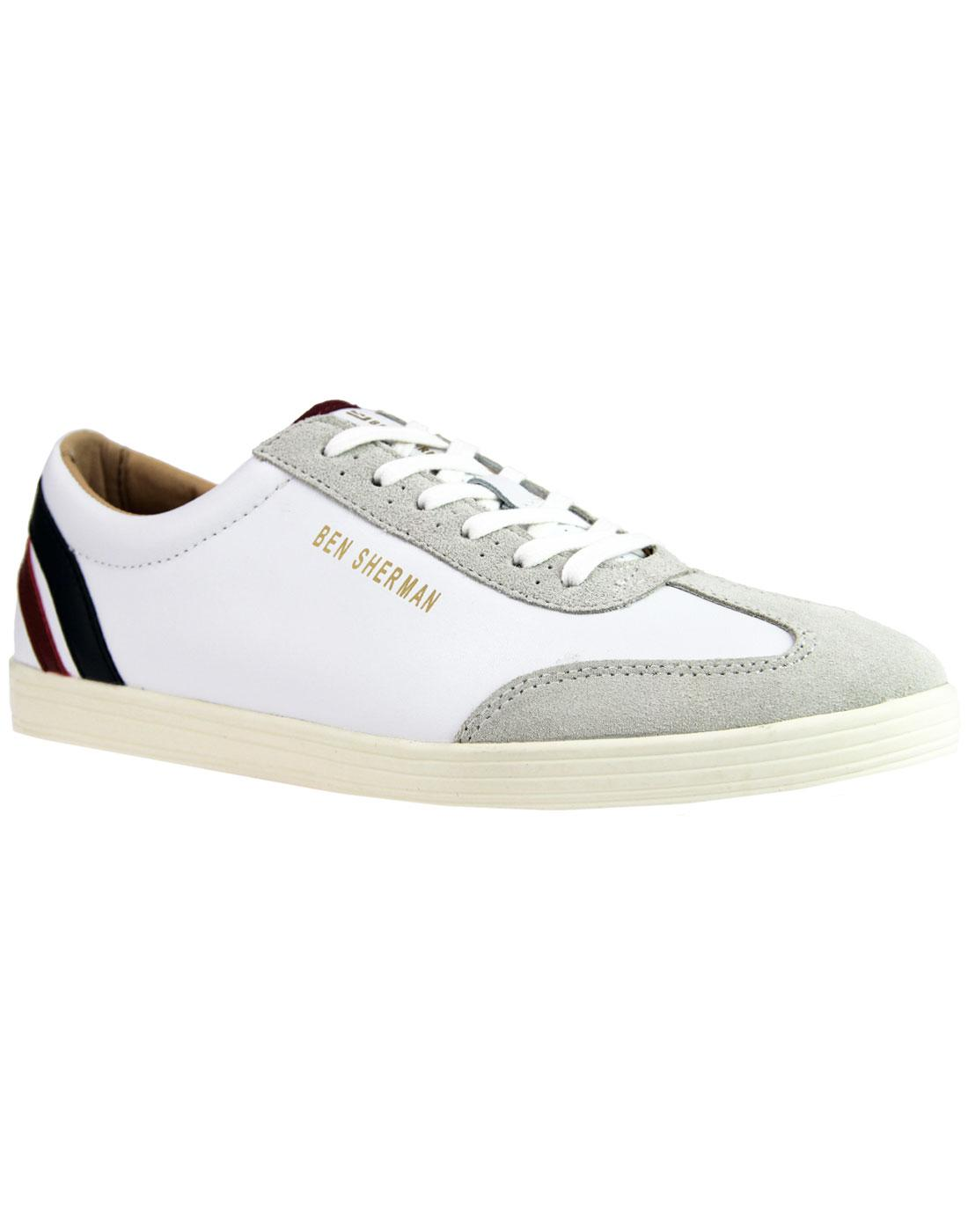 Albion BEN SHERMAN Retro Mod Target Trainers WHITE
