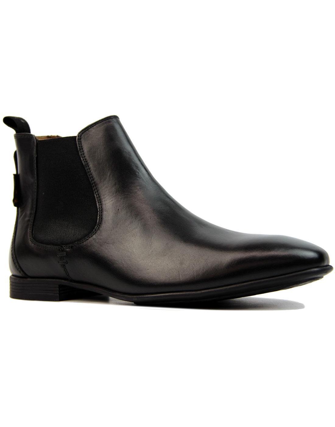 Archibald BEN SHERMAN 60s Mod Chelsea Boots BLACK