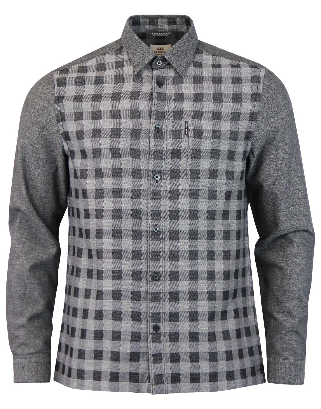 BEN SHERMAN Mens Retro Mod Check Front Dobby Shirt