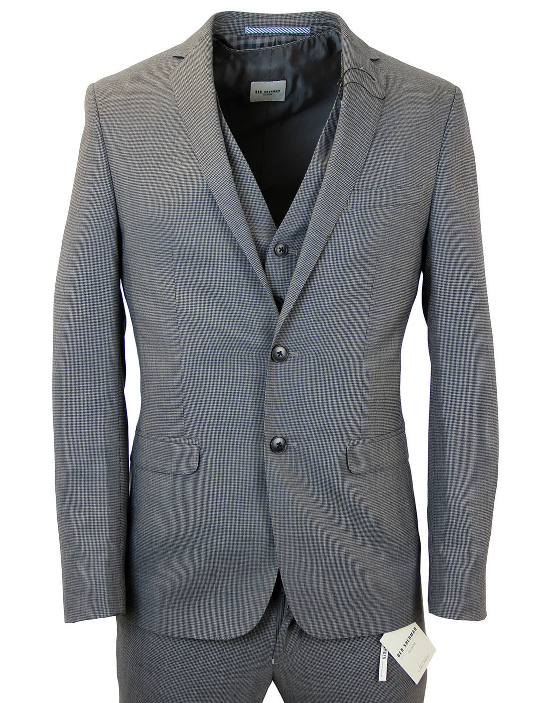 BEN SHERMAN Micro Dogtooth 3 Piece Suit