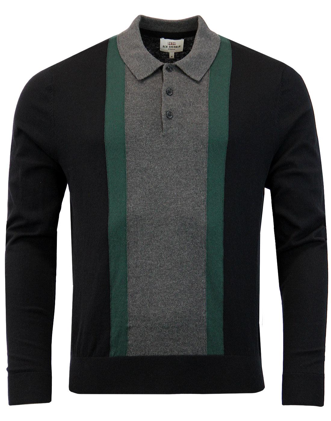 BEN SHERMAN 1960s Mod Colour Block Knit Polo BLACK