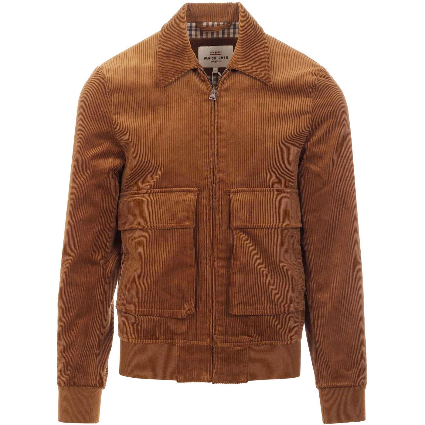 BEN SHERMAN Men's Retro Cord Harrington Jacket TAN