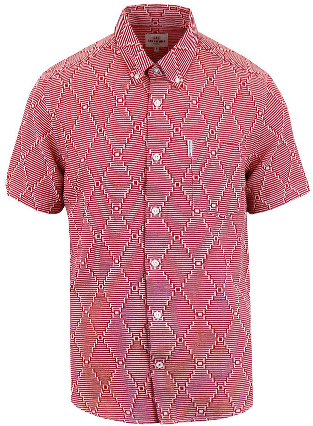 BEN SHERMAN 60s Mod Warped Stripe Op Art Shirt RED