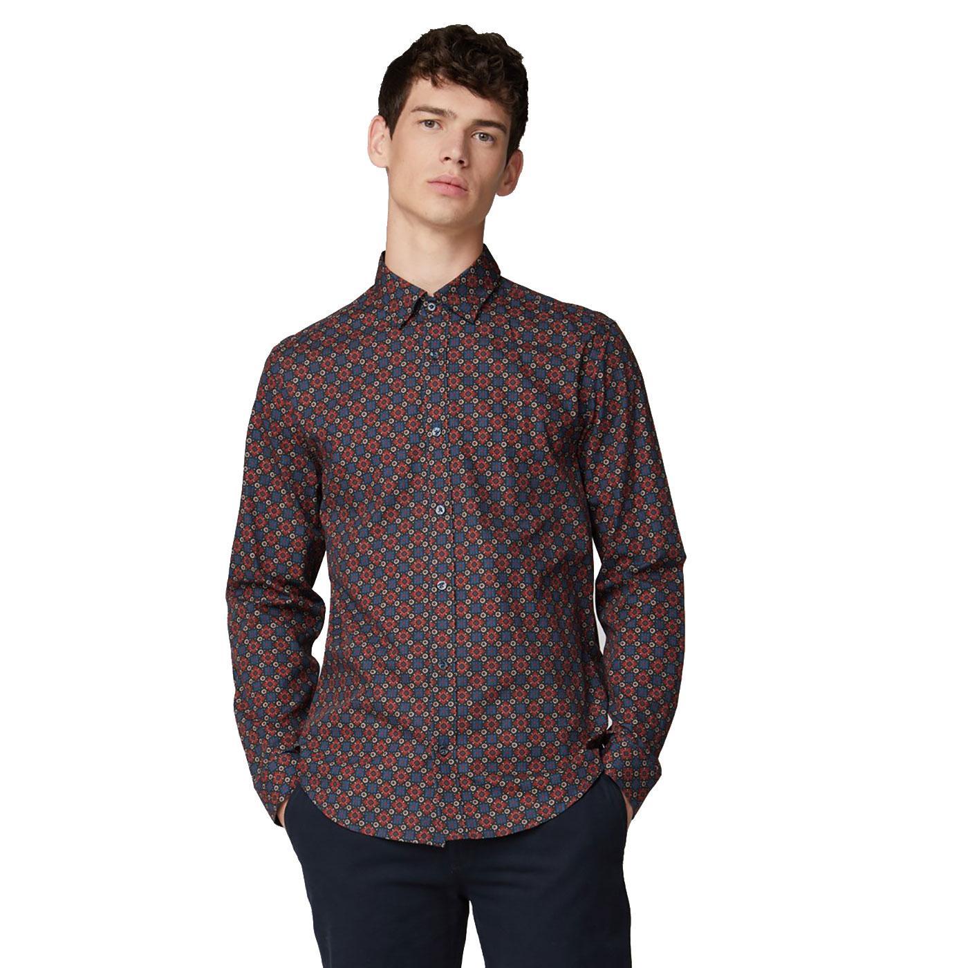 BEN SHERMAN Retro Mod Foulard Floral Print Shirt