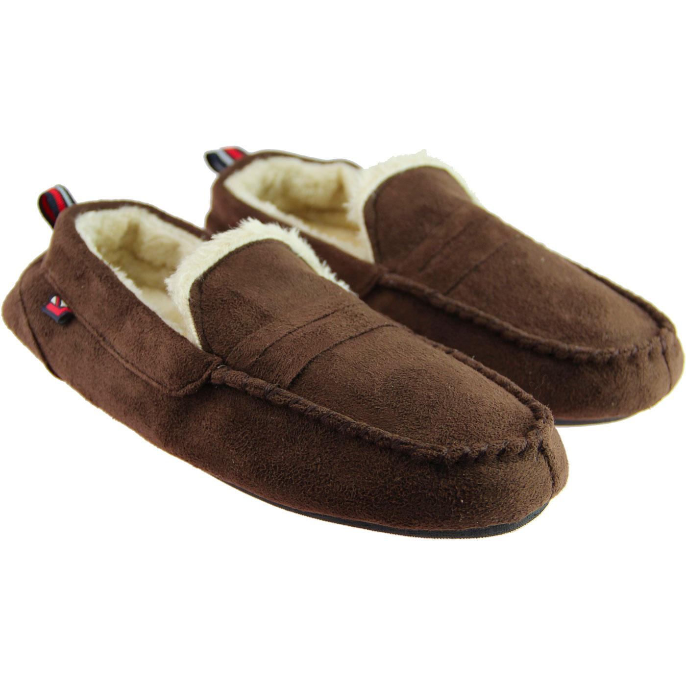 36d20f2de385 BEN SHERMAN Four Seasons Mod Moccasin Slippers Brown