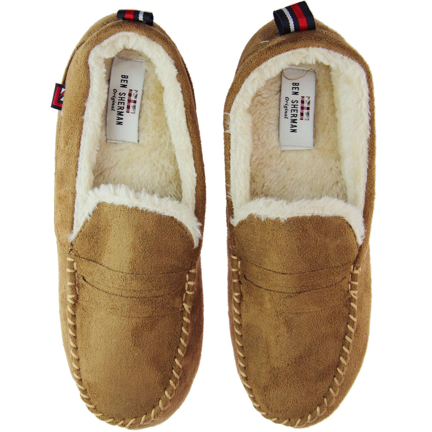 Four Seasons BEN SHERMAN Mod Moccasin Slippers TAN
