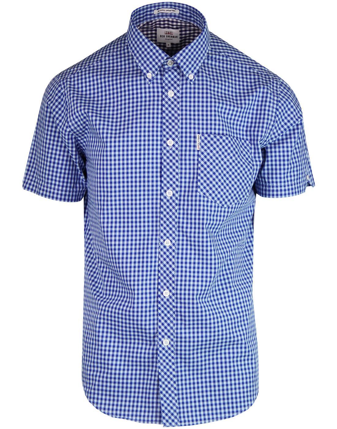BEN SHERMAN 60s Mod Short Sleeve Gingham Shirt SKY
