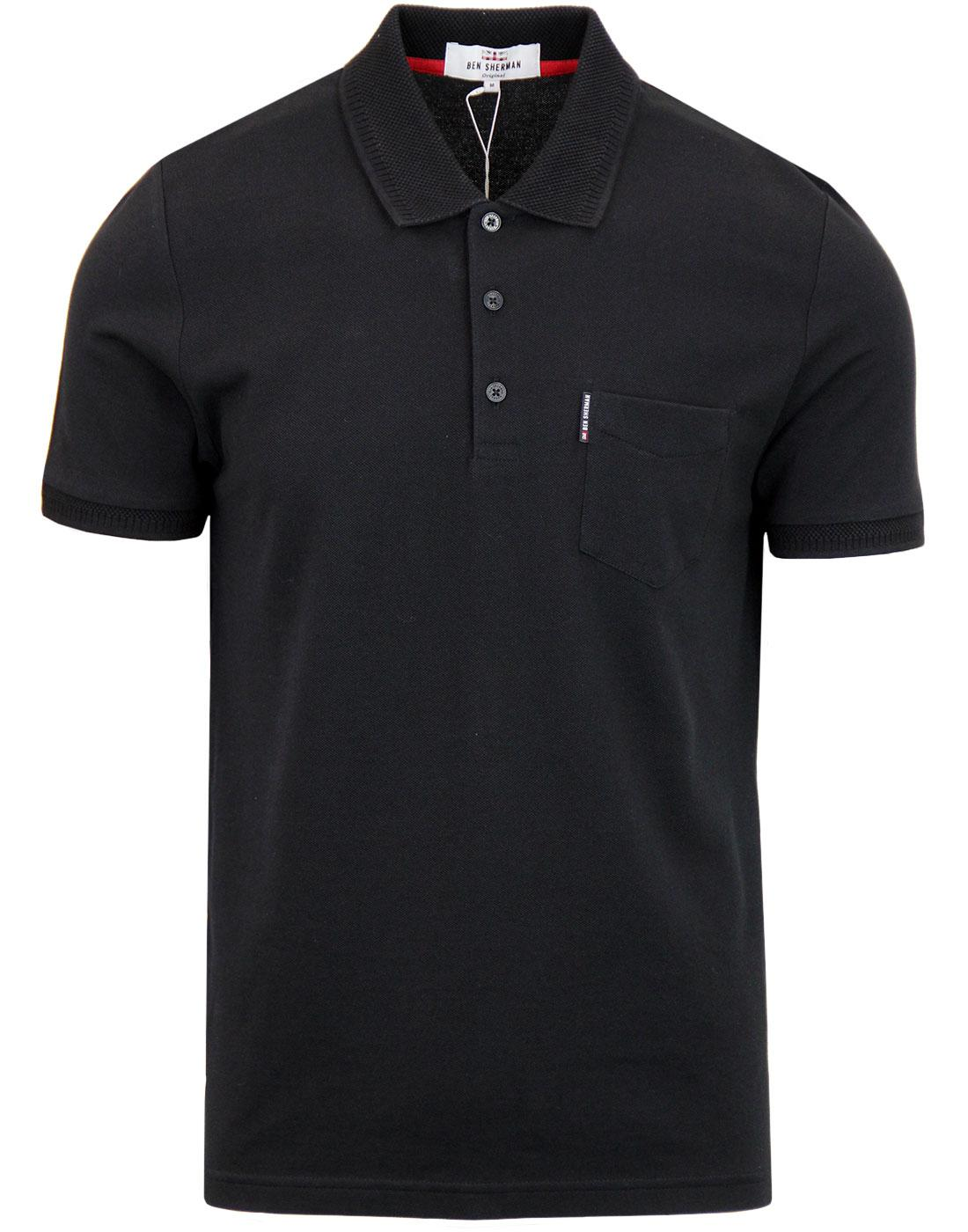 BEN SHERMAN Honeycomb Jacquard Collar Pique Polo B