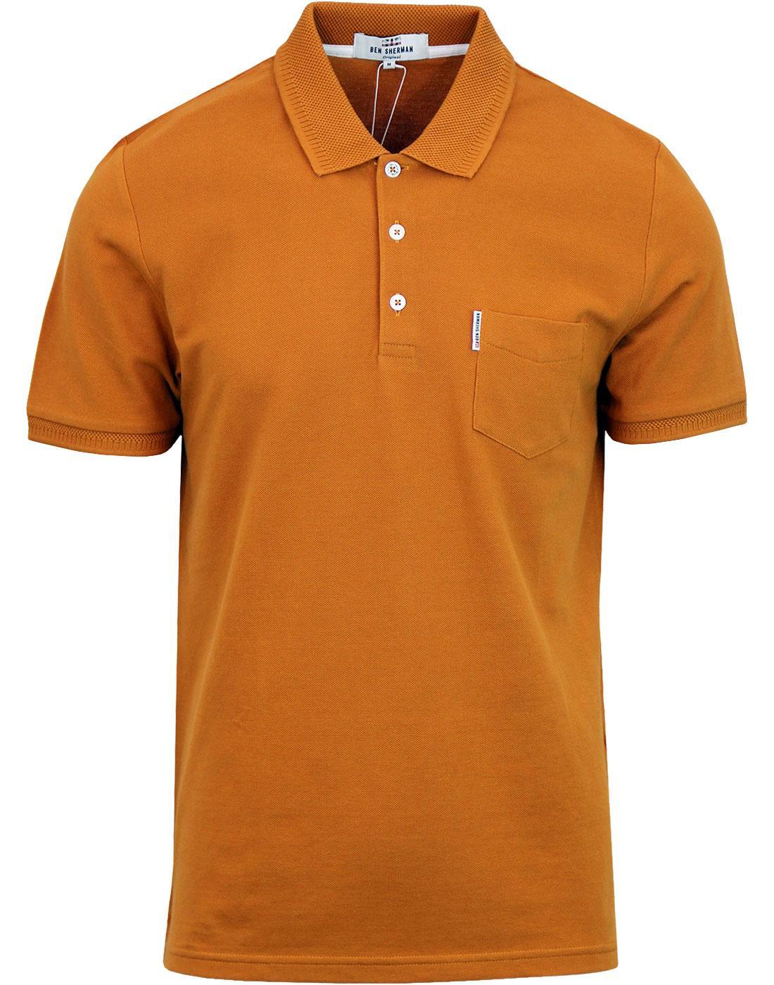 BEN SHERMAN Honeycomb Jacquard Collar Pique Polo M