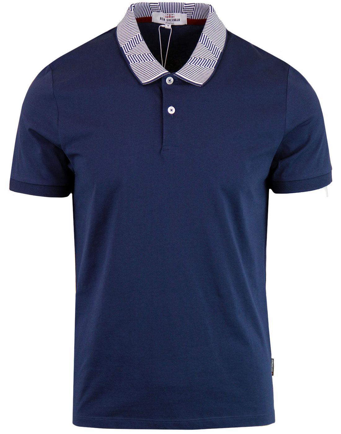 BEN SHERMAN Mod Intarsia Op Art Collar Polo Shirt