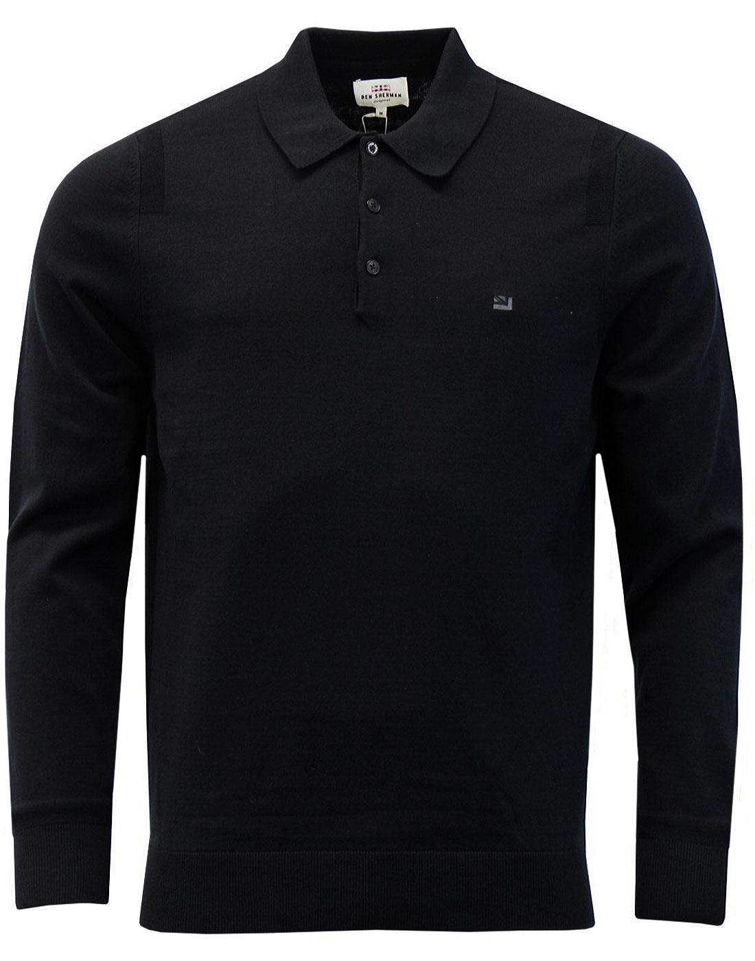BEN SHERMAN Mod Long Sleeve Knitted Polo - Black