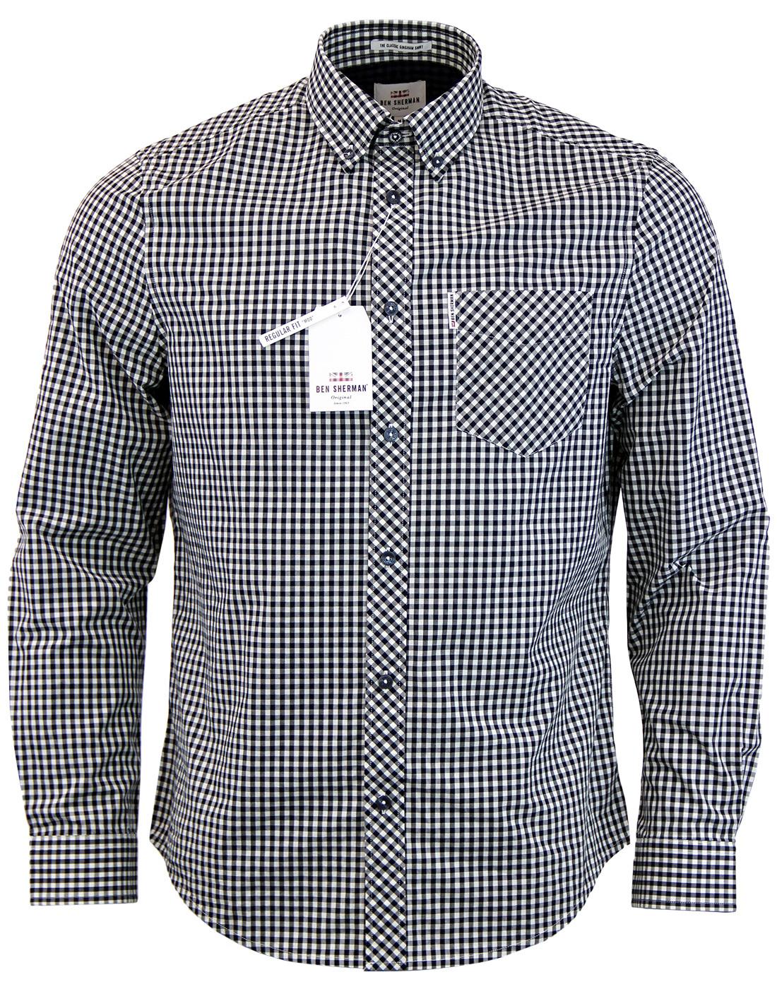 733919e39f BEN SHERMAN Mens Retro Mod 60s Gingham Shirt in Black
