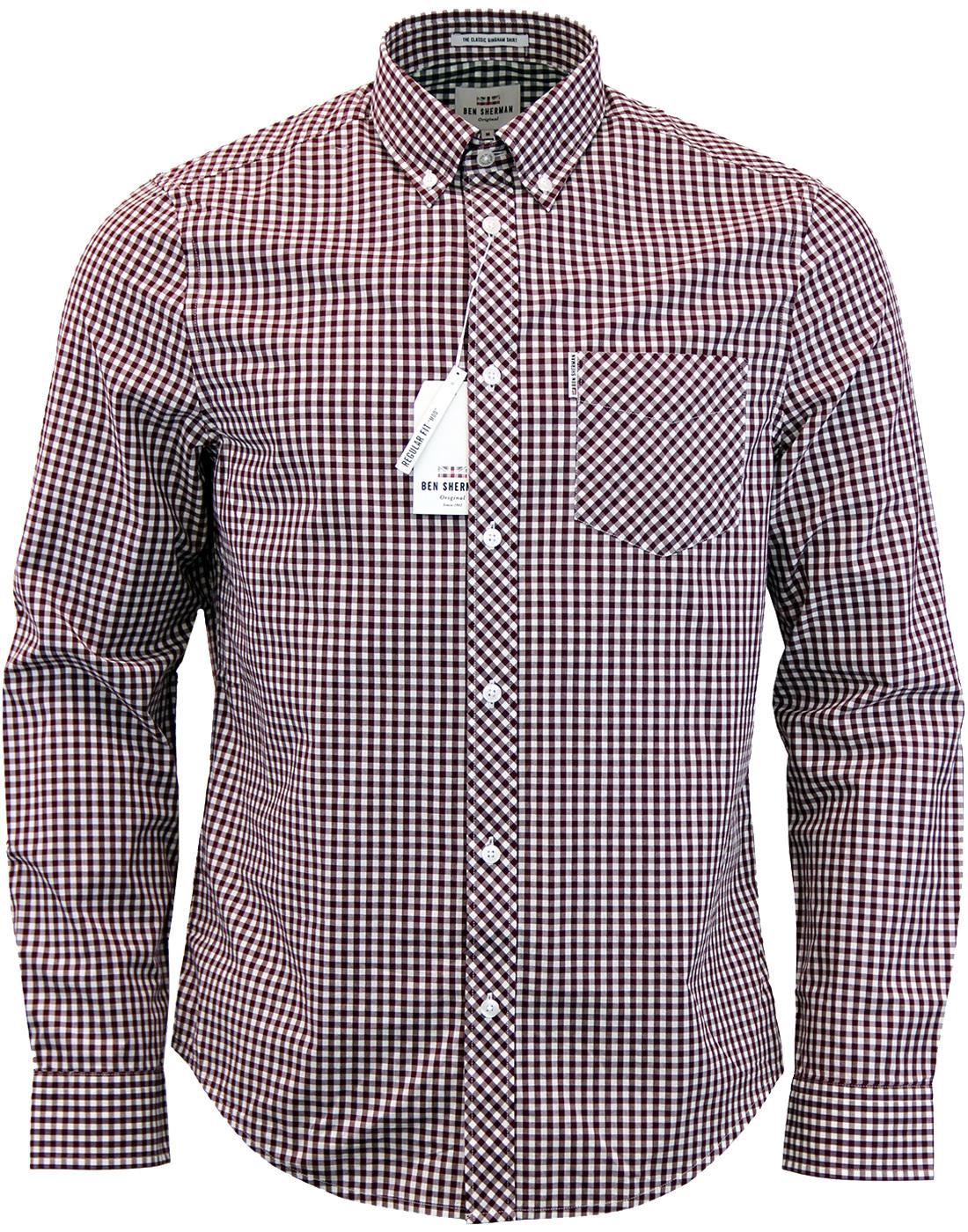 2fa90dda22 BEN SHERMAN Mens Retro Mod 60s Gingham Shirt in Oxblood