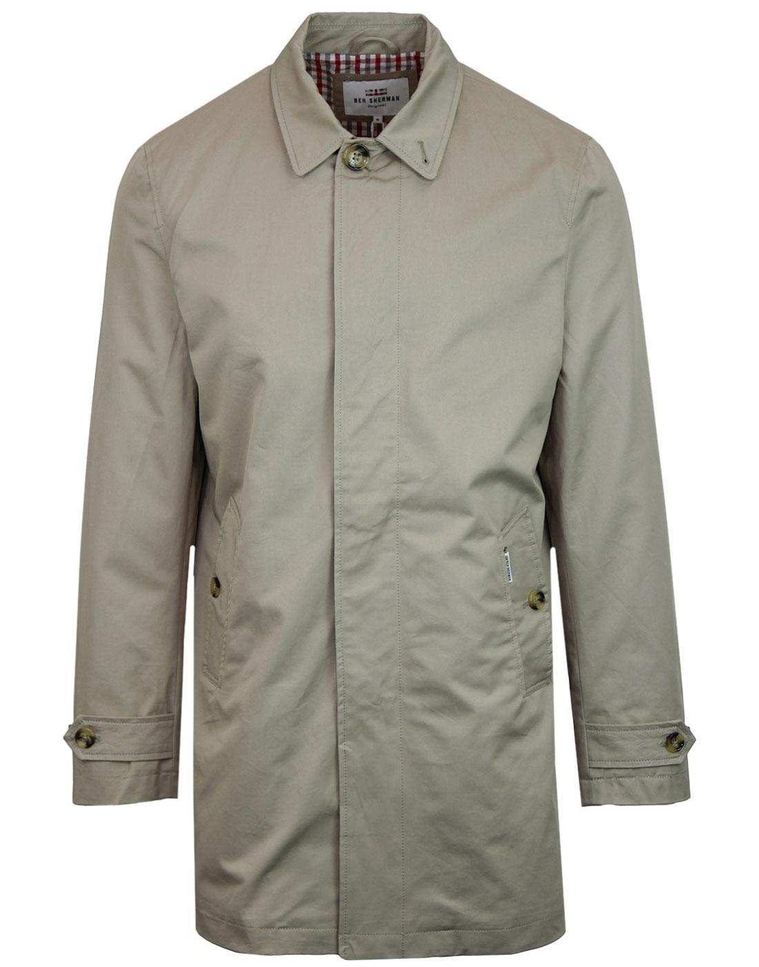 BEN SHERMAN Retro Mod Cotton Mac Jacket STONE