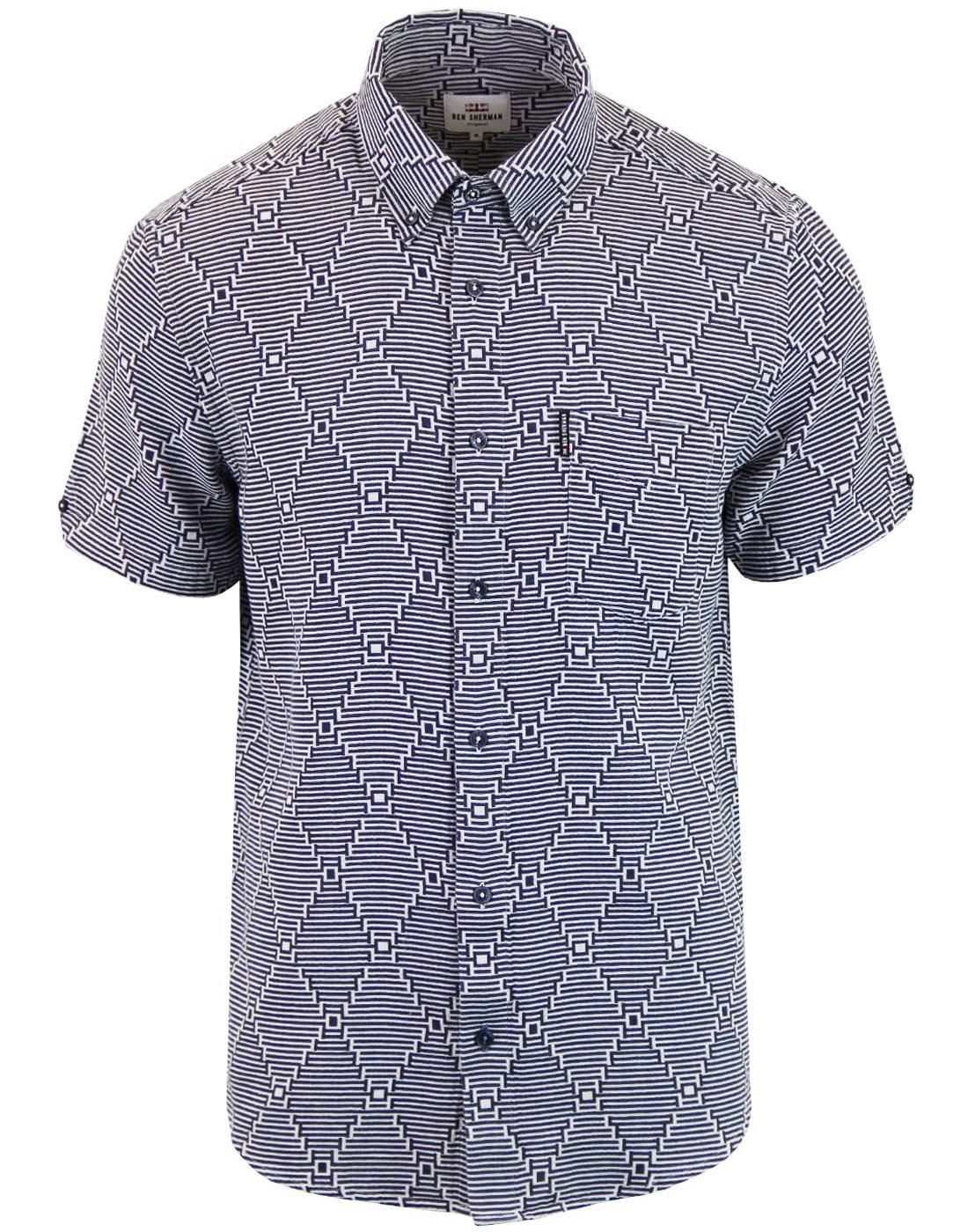 BEN SHERMAN Mens Mod Warp Stripe Op Art Shirt NAVY