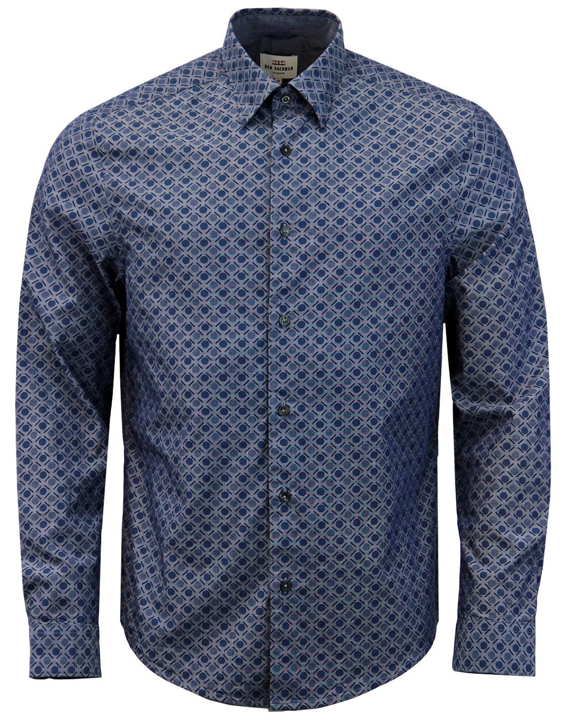 BEN SHERMAN Retro 60s Mod Spot Chambray Shirt