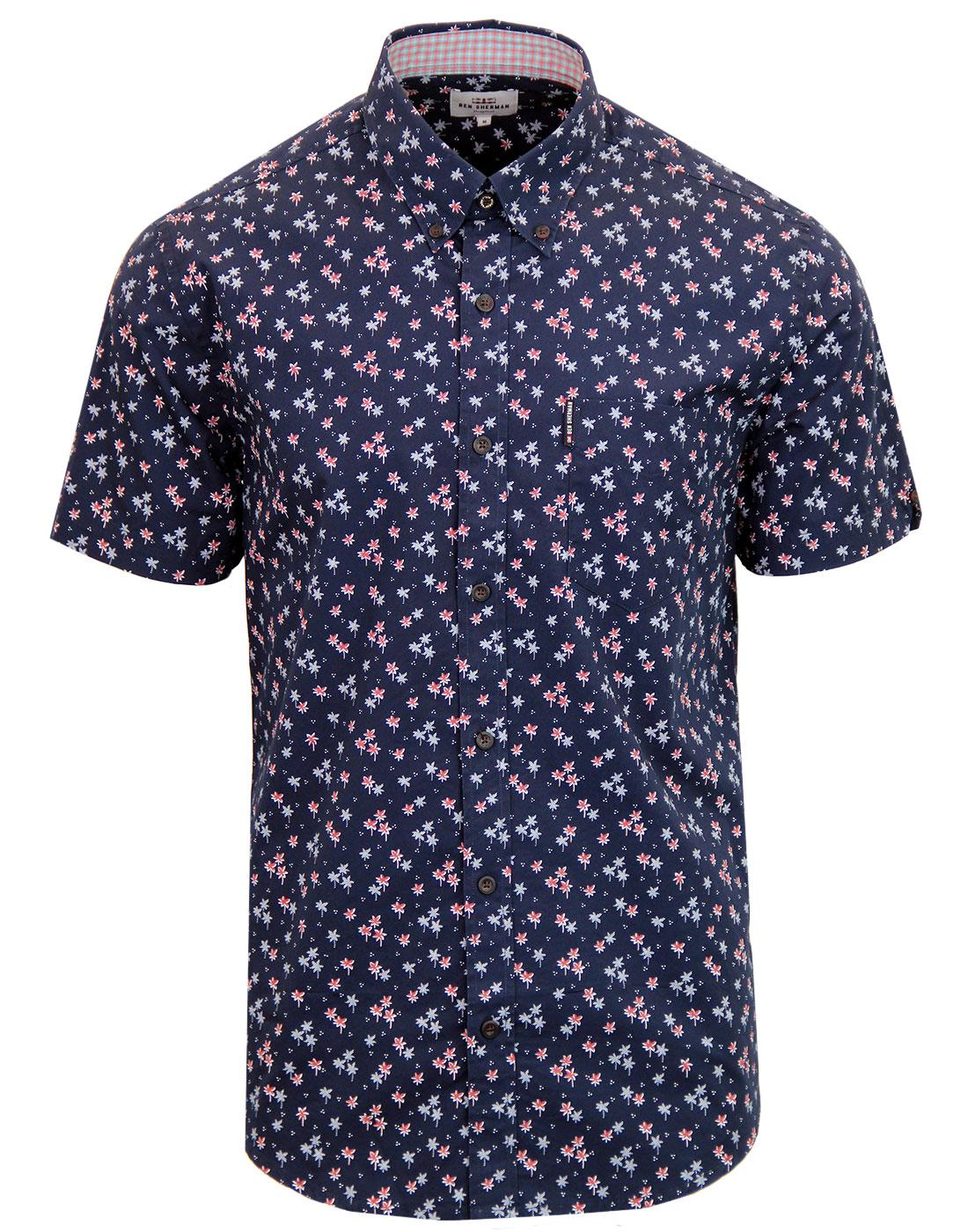 BEN SHERMAN Retro Mod Palm Tree Dot Shirt BLUE