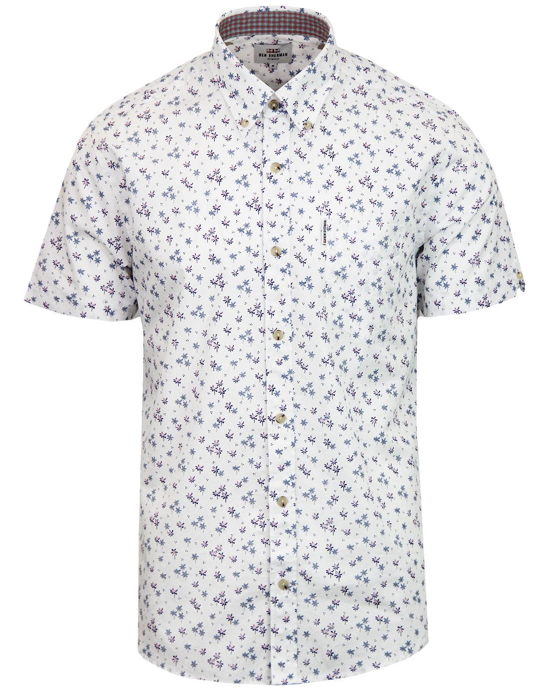 BEN SHERMAN Retro Mod Palm Tree Dot Shirt WHITE