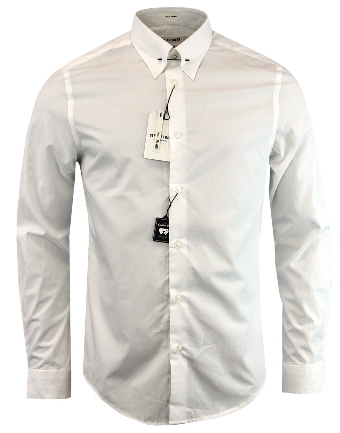 Ben Sherman Retro 1960s Mod Pin Collar Smart Dress Shirt In White