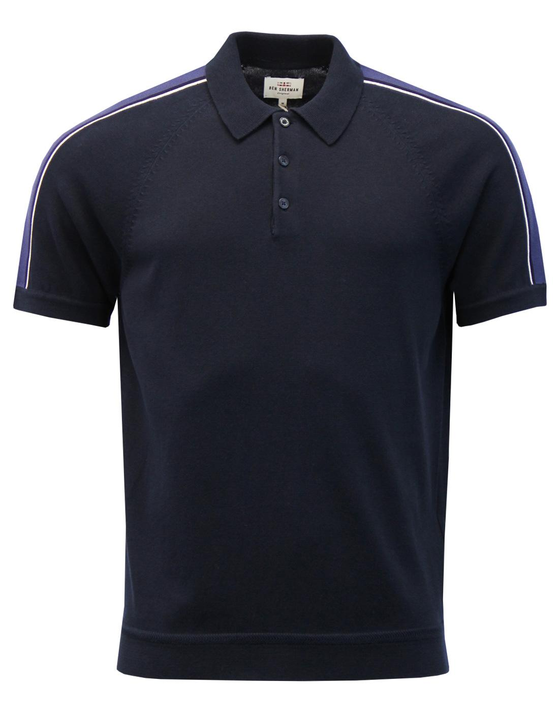 BEN SHERMAN Retro Mod Piped Overarm Knit Polo Top