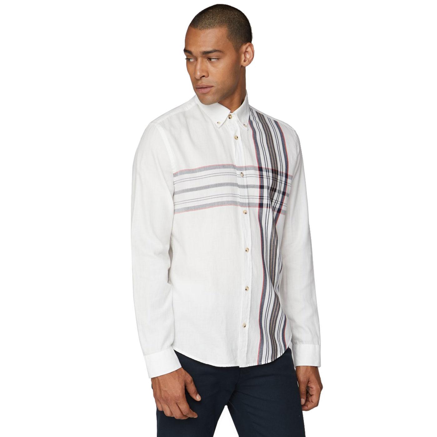 BEN SHERMAN Men's Retro Placed Stripe Plaid Shirt