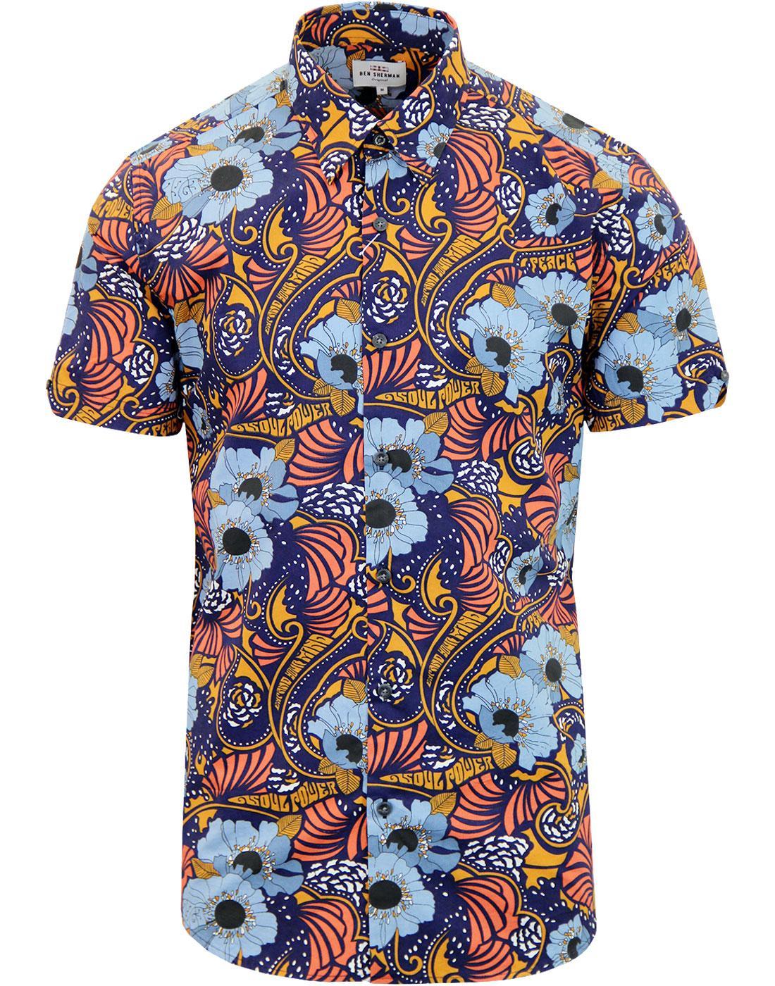 BEN SHERMAN Mens 60s Mod Soul Power Floral Shirt N