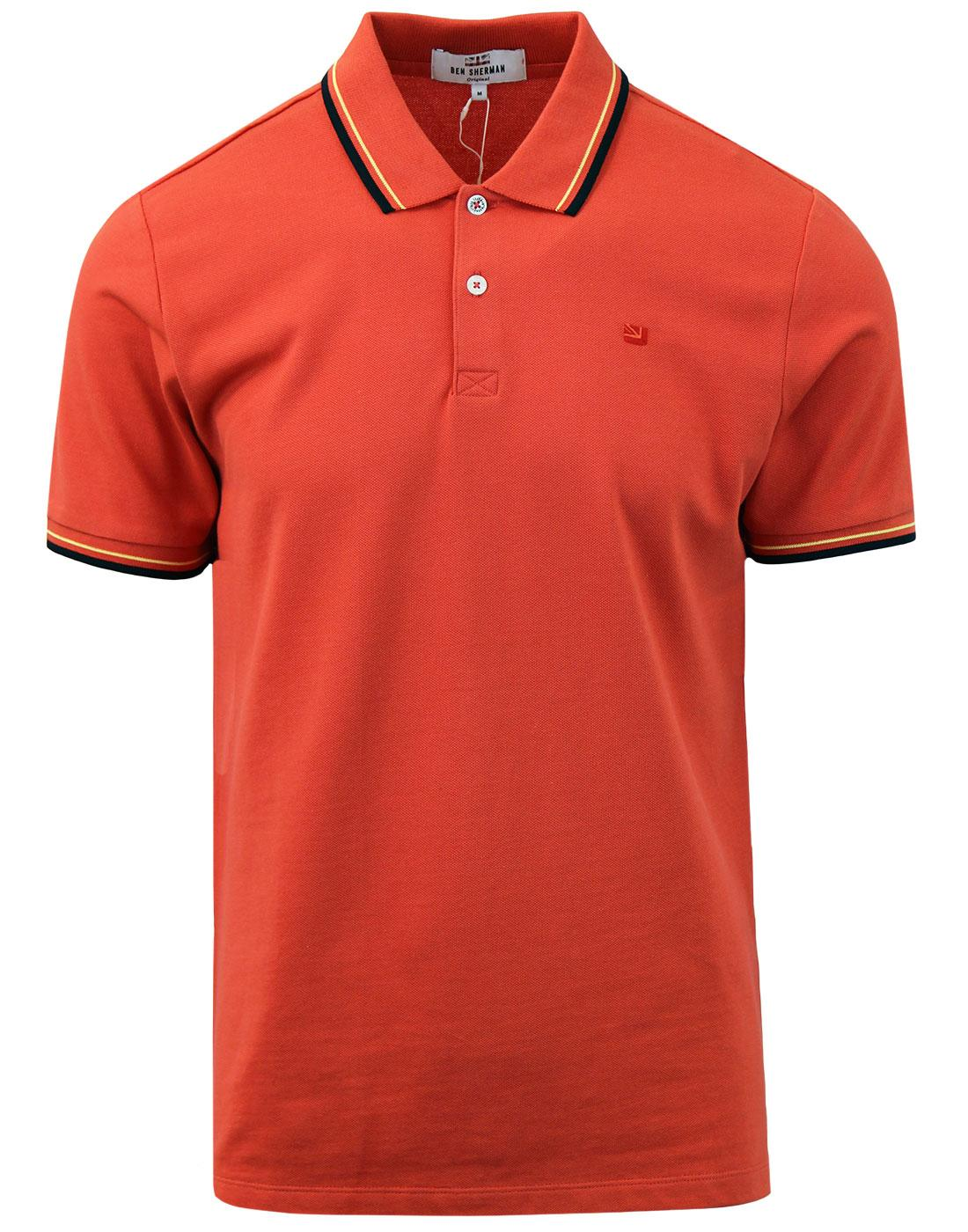 BEN SHERMAN Romford Retro Mod Tipped Polo Top (BO)