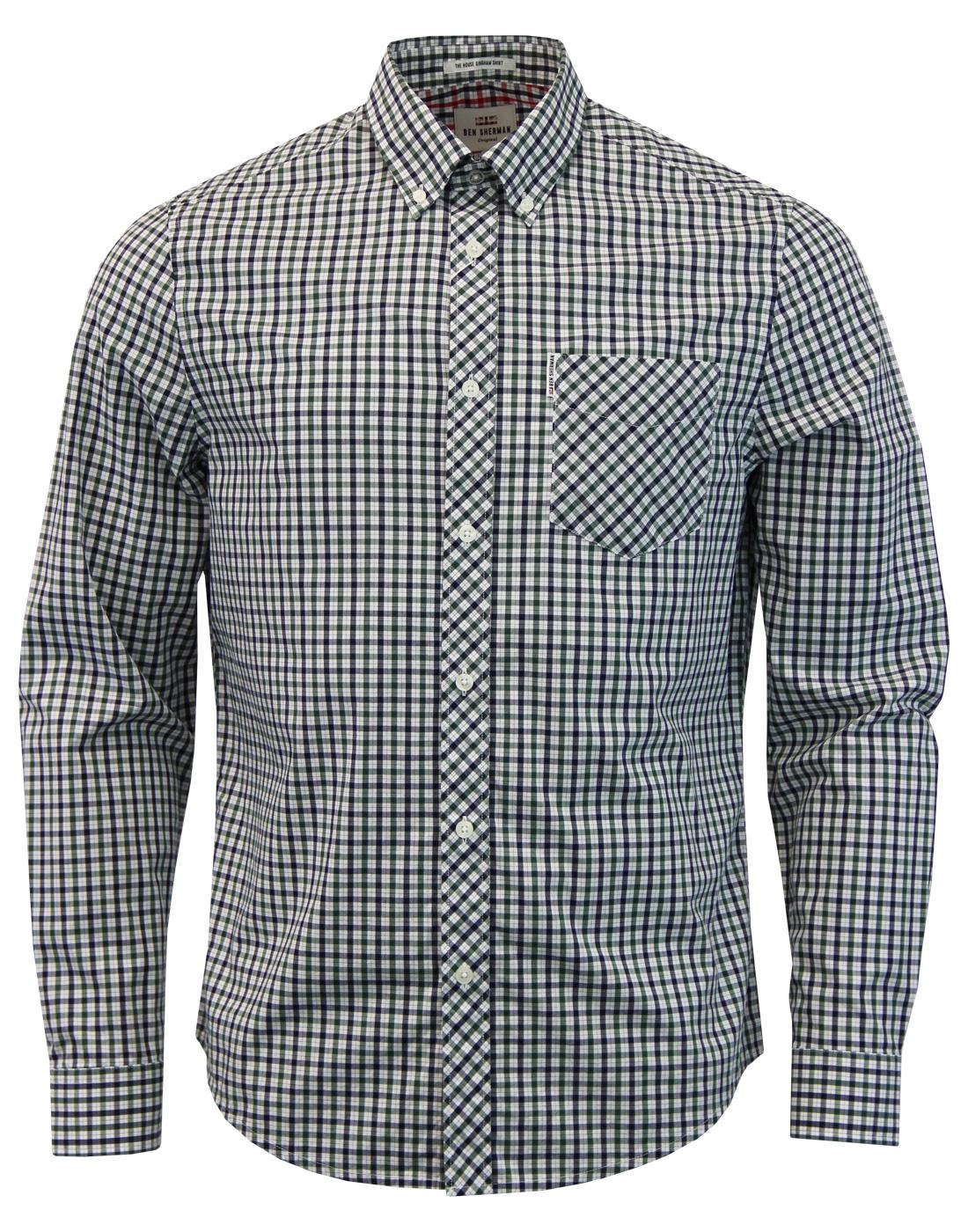 BEN SHERMAN Mod 60s House Check Shirt in Green