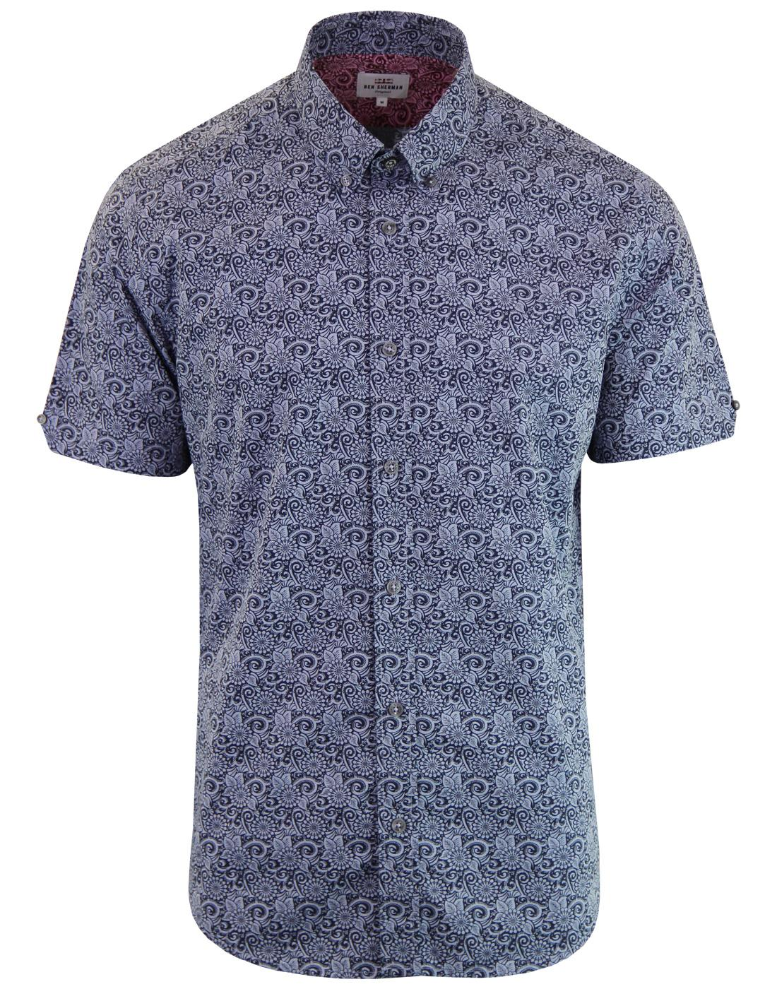 BEN SHERMAN Retro 60s Stencil Floral Shirt NAVY
