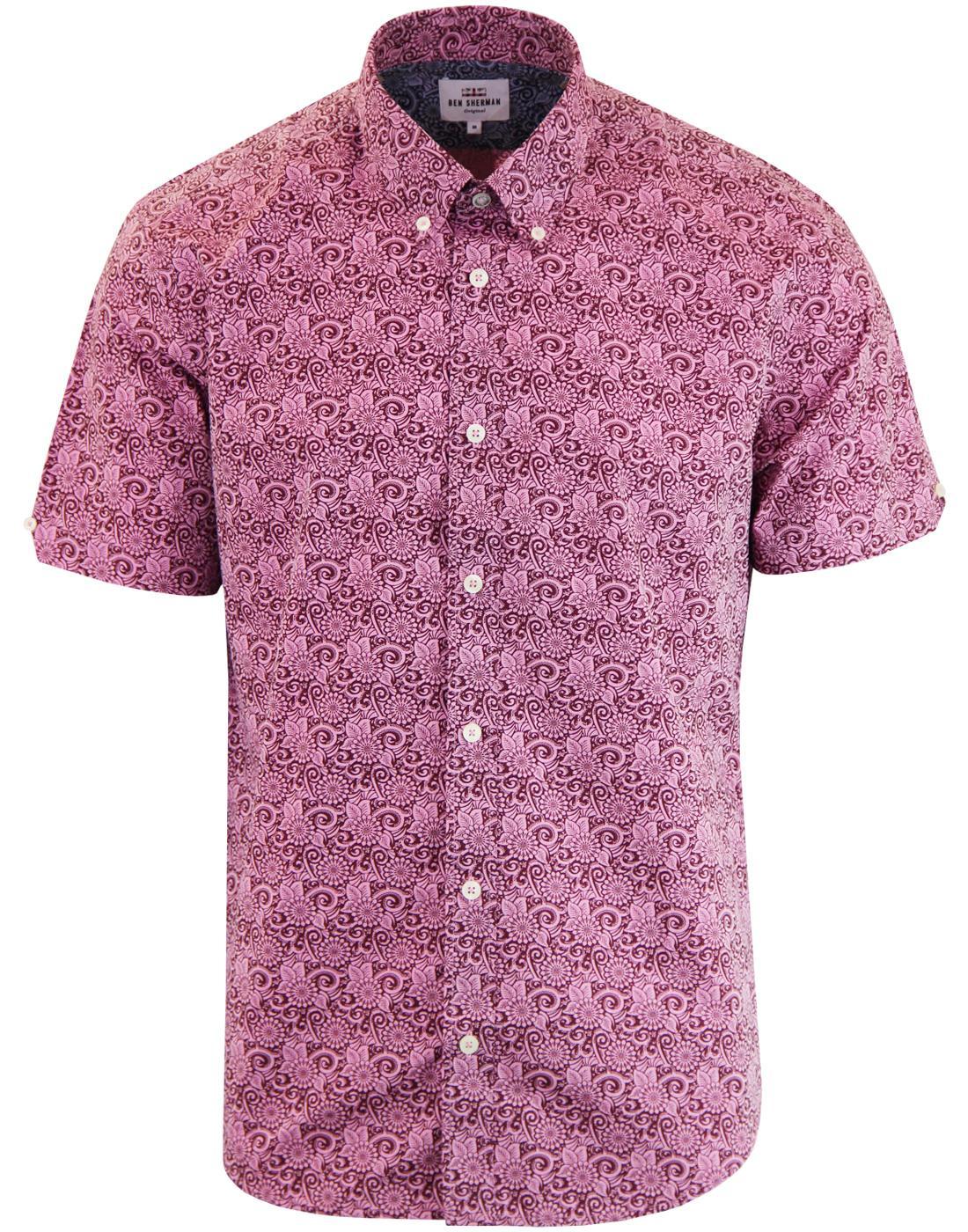 BEN SHERMAN 1960s Mod Stencil Floral Shirt ROSE