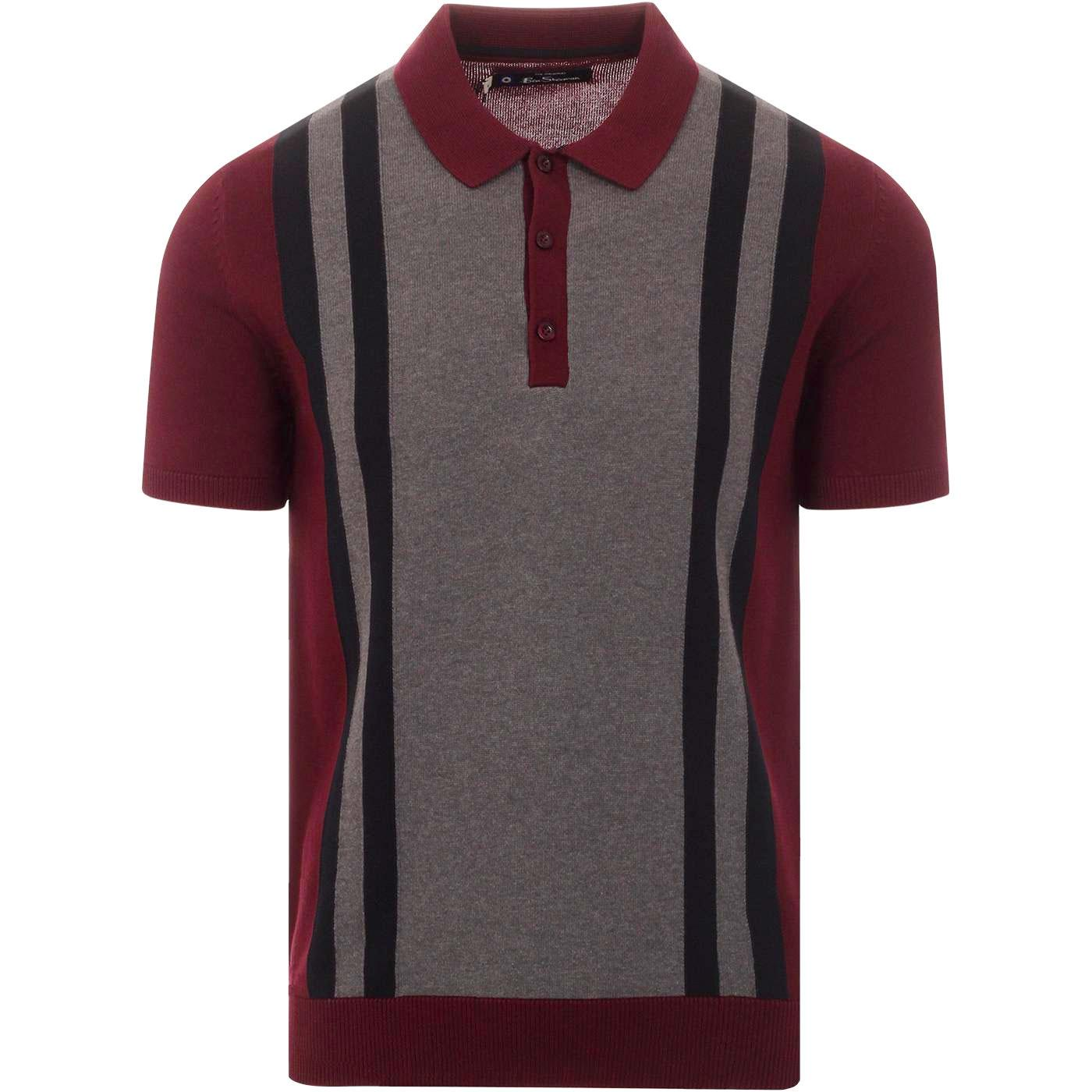 BEN SHERMAN 60s Mod Stripe Panel Knit Polo Top (W)