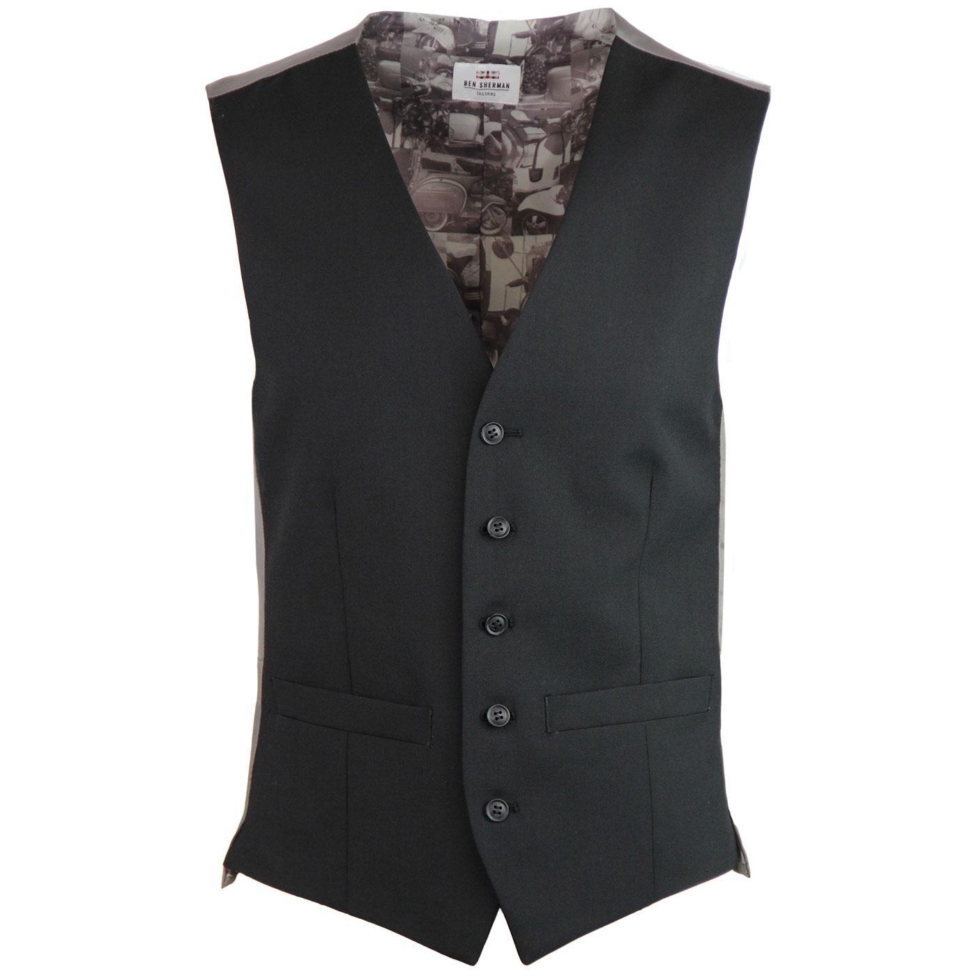 BEN SHERMAN Tailoring Mod Tonic Waistcoat (Black)