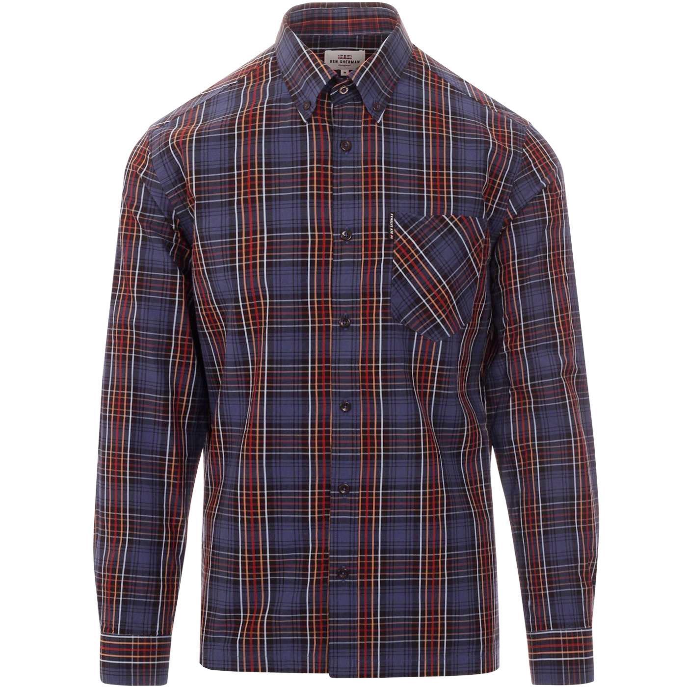 BEN SHERMAN Mod Tartan Check Button Down Shirt MB