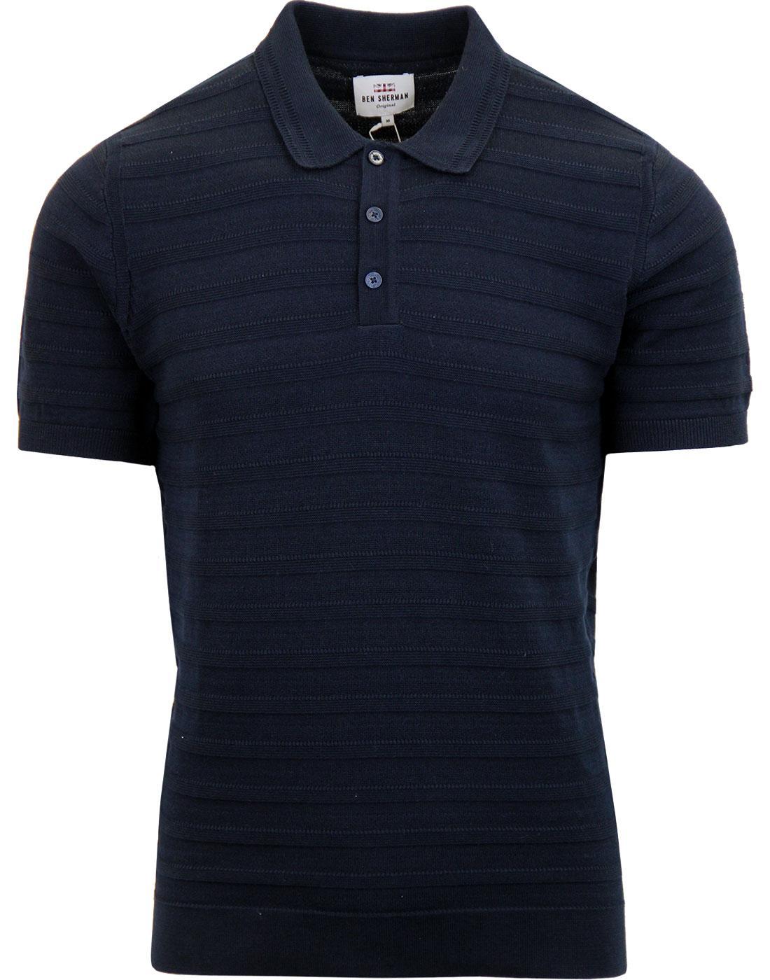 BEN SHERMAN Mod Texture Stripe Knit Polo Shirt (N)