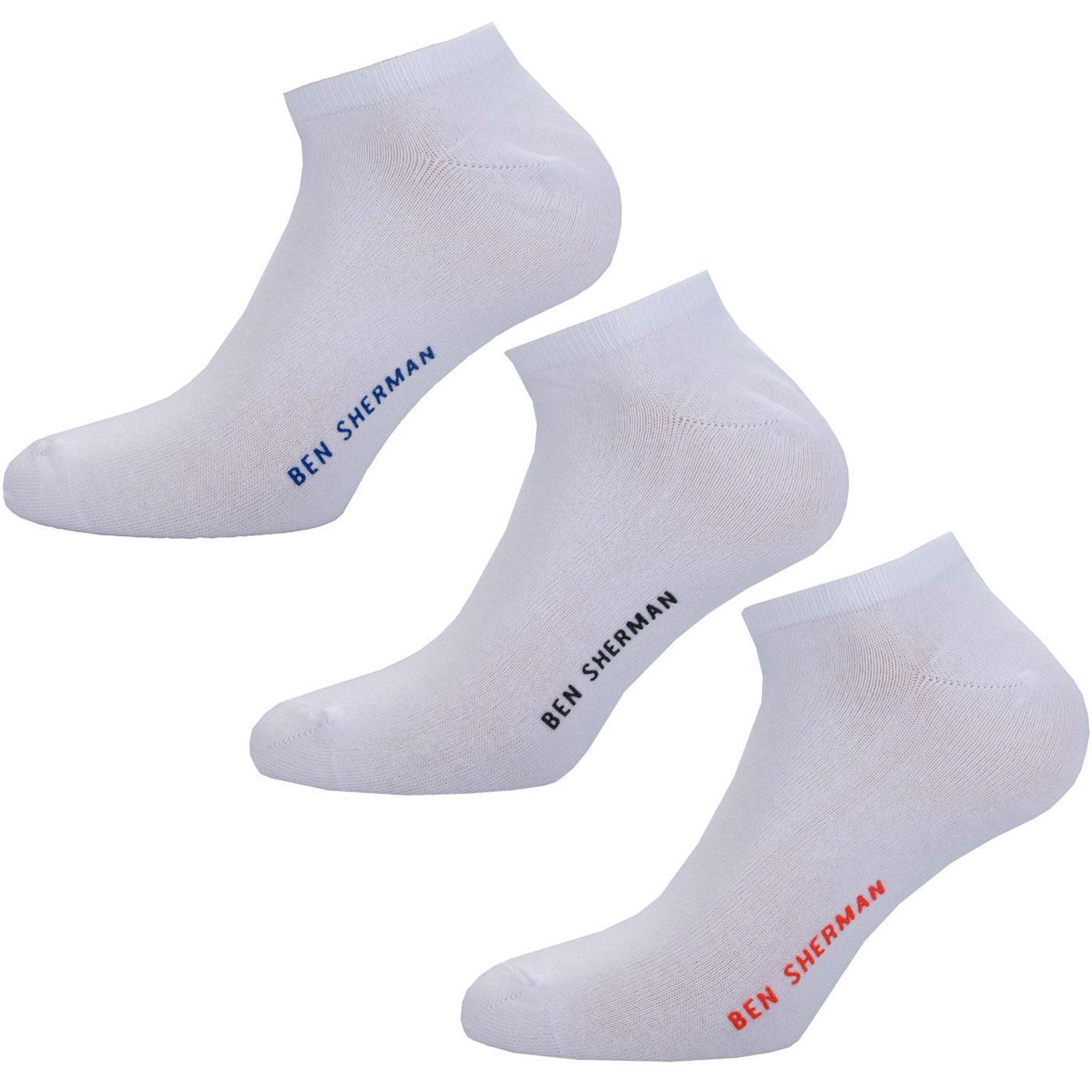 BEN SHERMAN Men's 3 Pack Trainer Socks WHITE