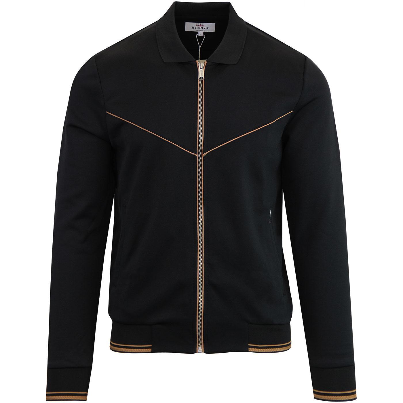 BEN SHERMAN Mod Tricot Polo Collar Track Top BLACK