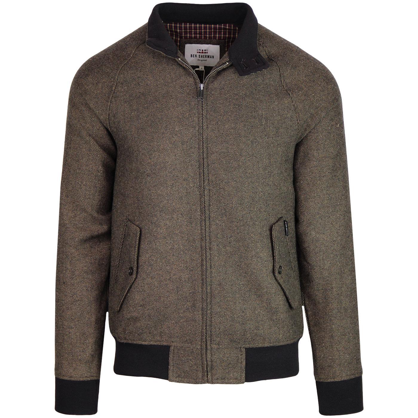 BEN SHERMAN Men's Mod Wool Harrington Jacket BARK