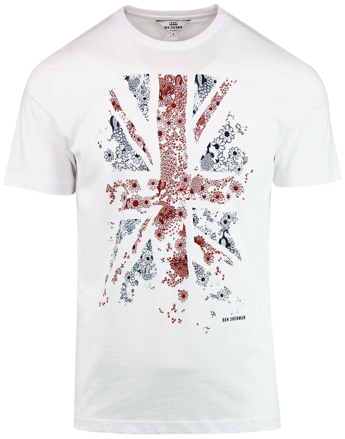 BEN SHERMAN 60s Mod Floral Union Jack Flag T-shirt