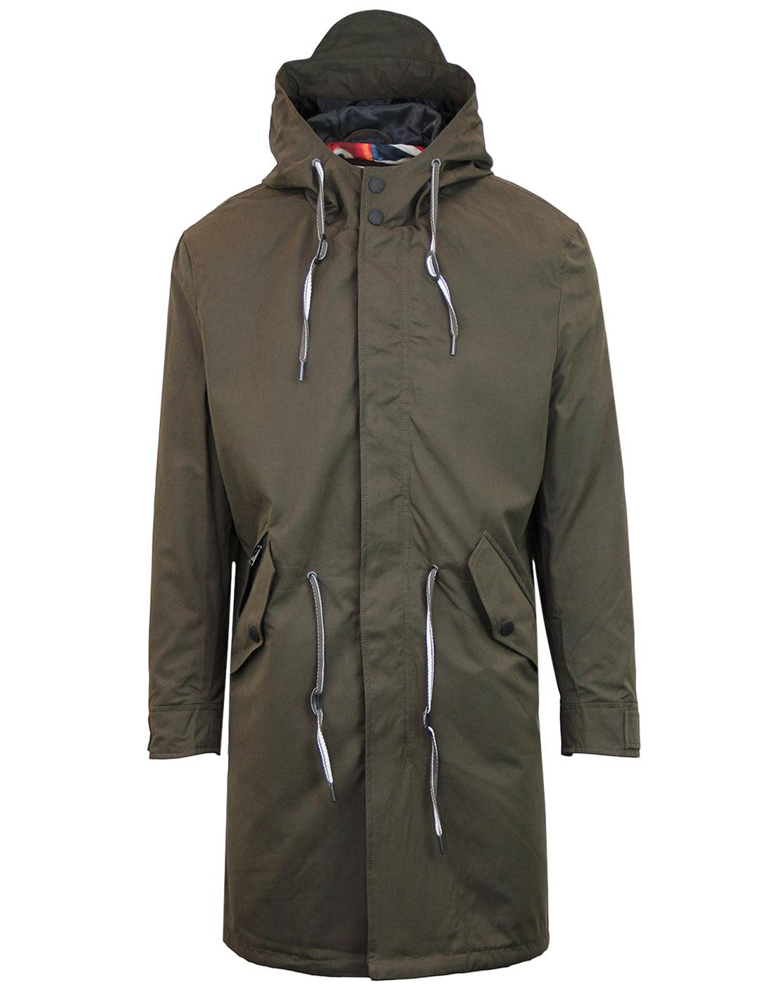 BEN SHERMAN Mod Union Jack Lined Fishtail Parka
