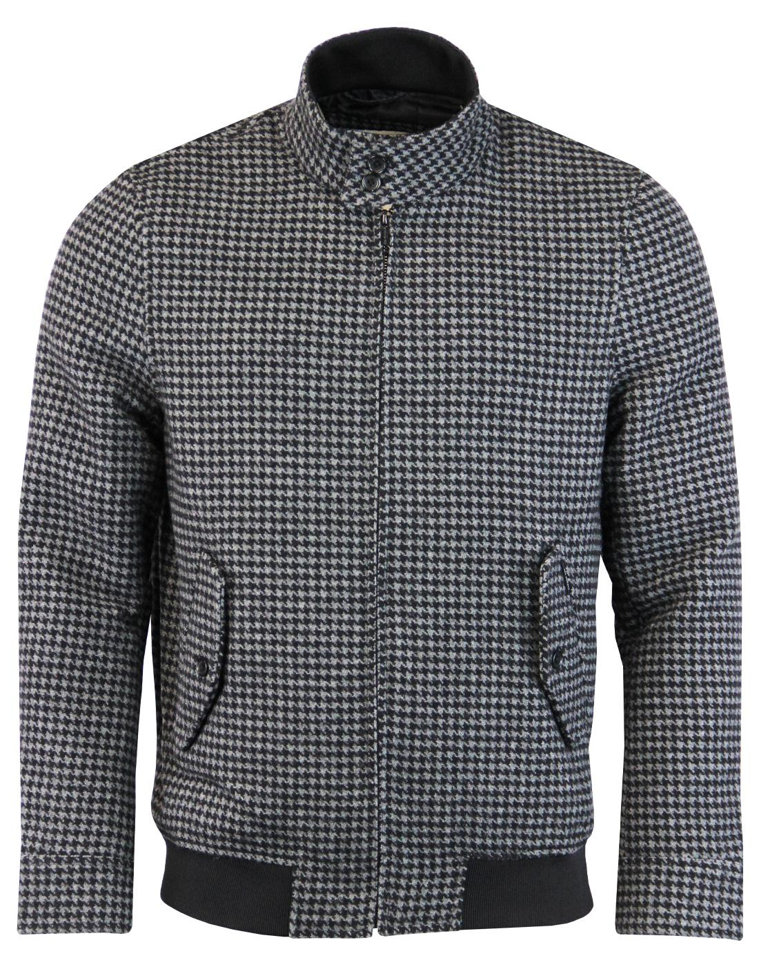 BEN SHERMAN Mod Dogtooth Wool Harrington Jacket