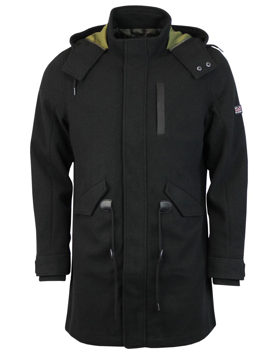 BEN SHERMAN Retro Mod Bonded Wool Parka Jacket (B)