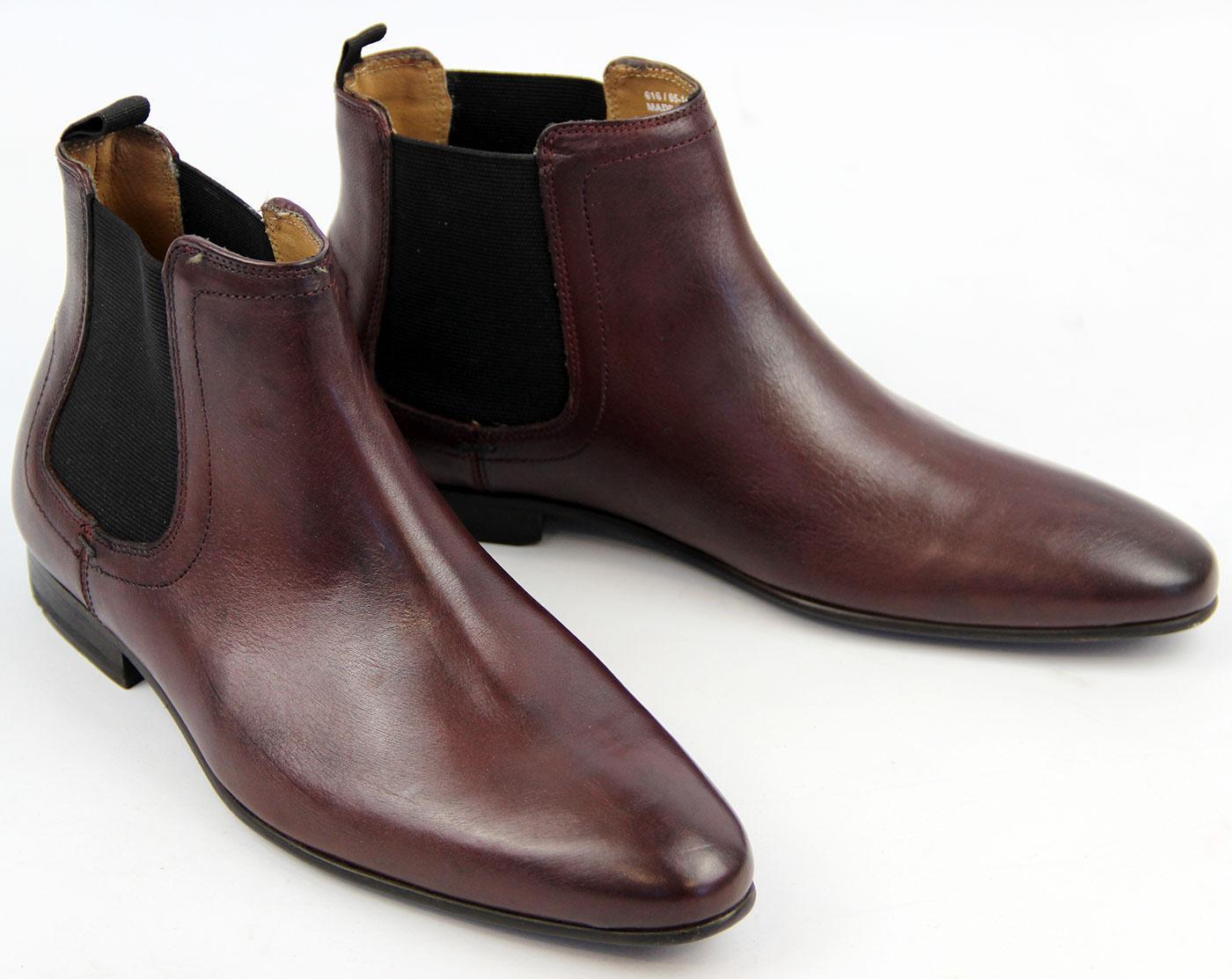 50e555caed9 Enox BEN SHERMAN Retro 60s Mod Chelsea Boots BURG