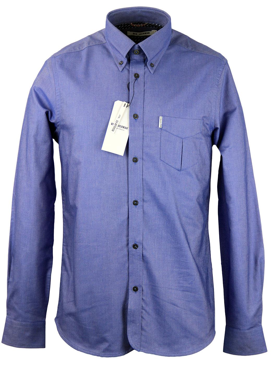 BEN SHERMAN Mod Oxford Button Down Geo Trim Shirt