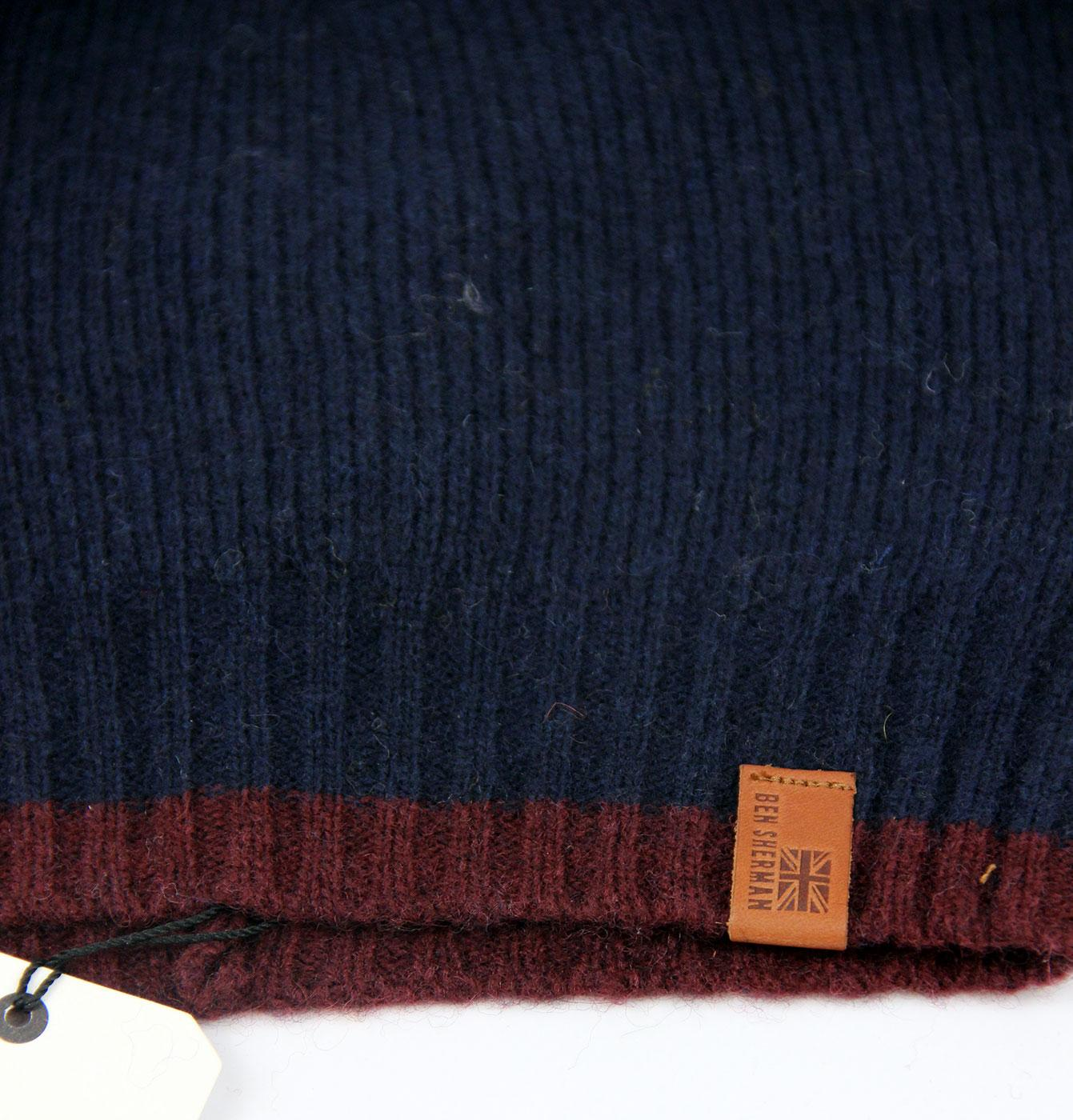 669cb4ae85bcd BEN SHERMAN Retro 70s Indie Tipped Wool Blend Beanie Hat in Navy