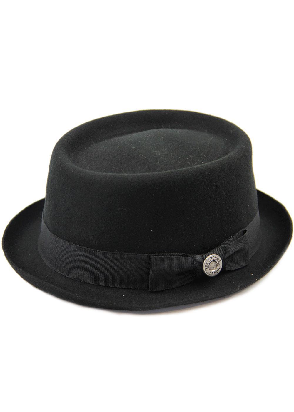BEN SHERMAN Retro 60s Mod Wool Felt Pork Pie Hat in Black 47cad695644