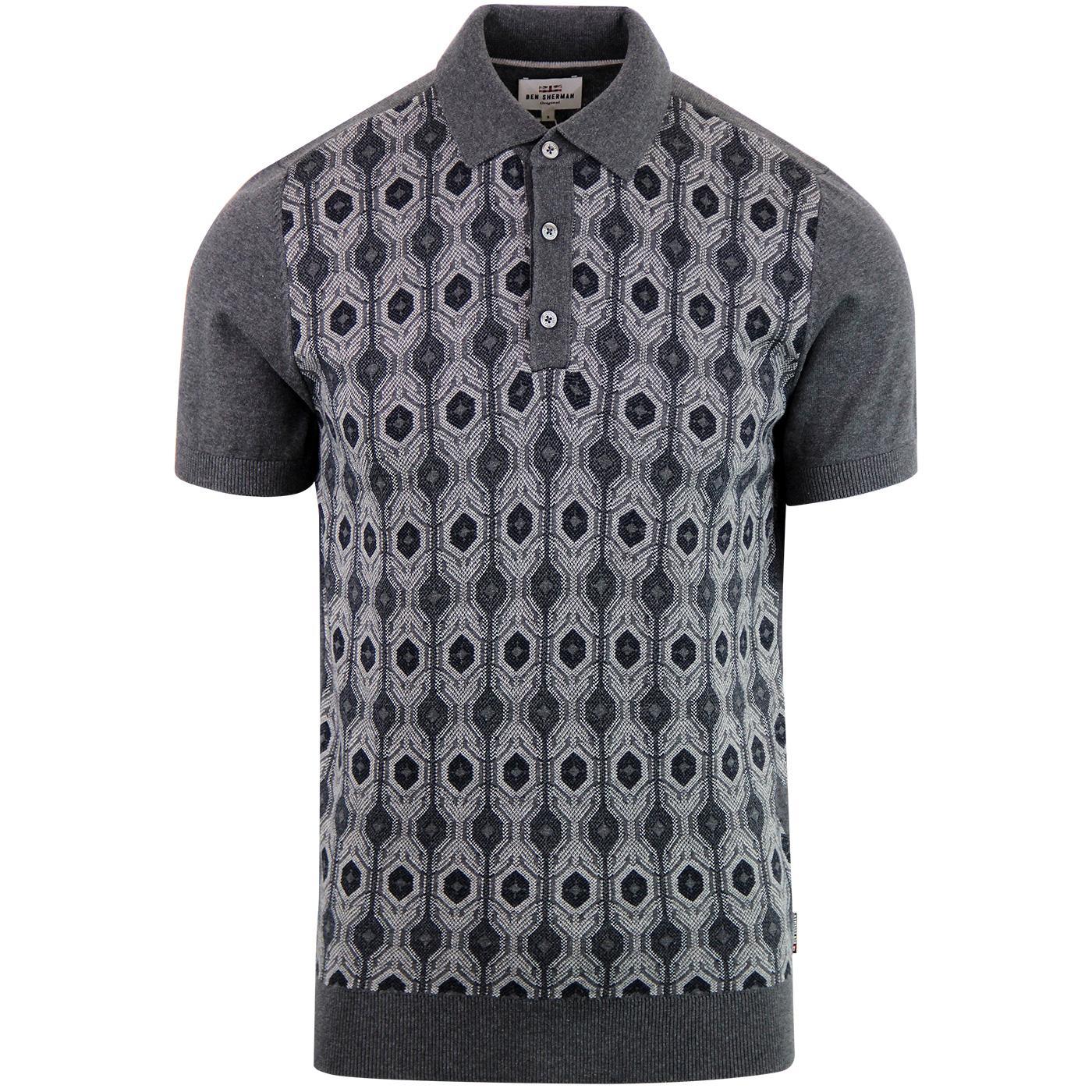 BEN SHERMAN Mod Birdseye Jacquard Knitted Polo (G)