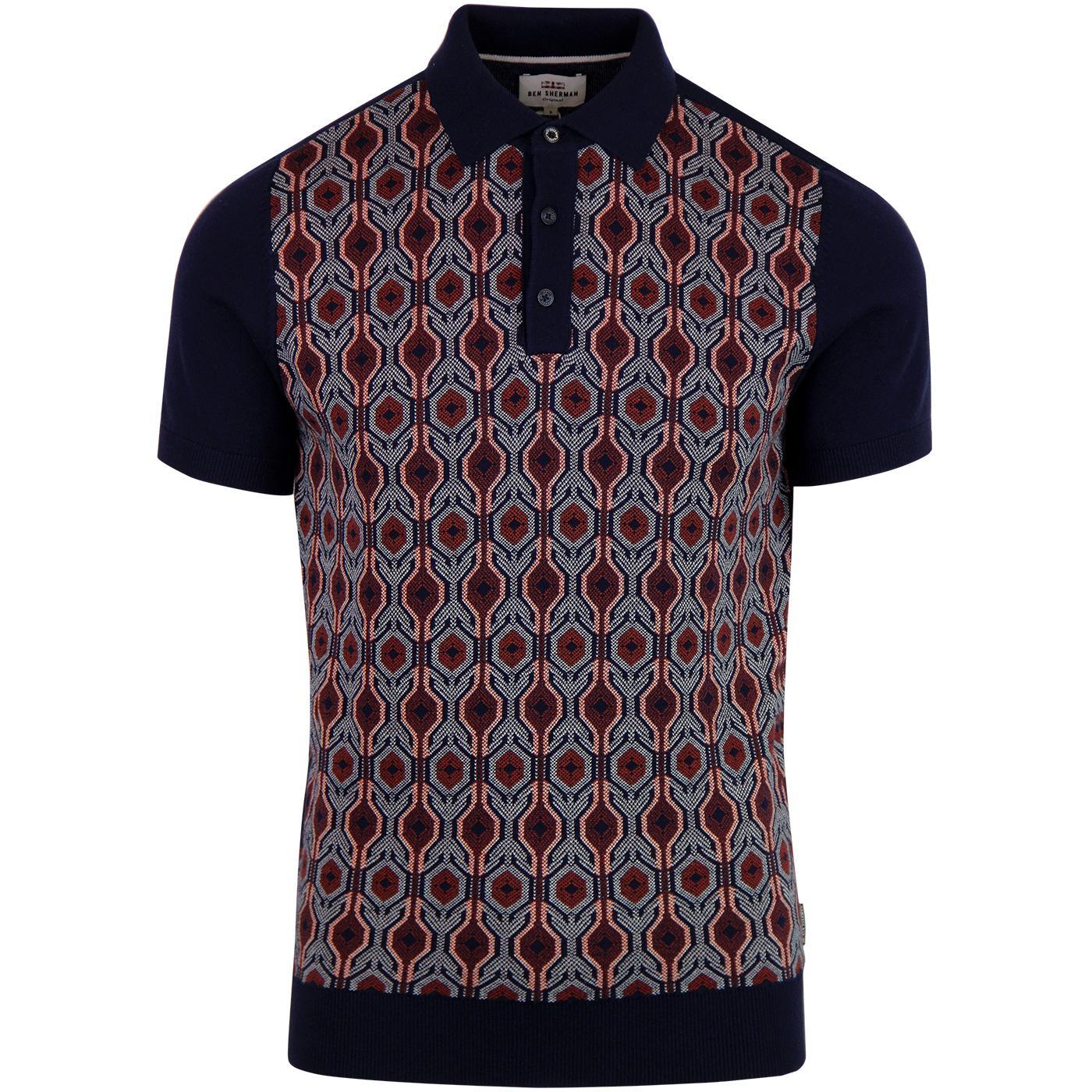 BEN SHERMAN Mod Birdseye Jacquard Knitted Polo