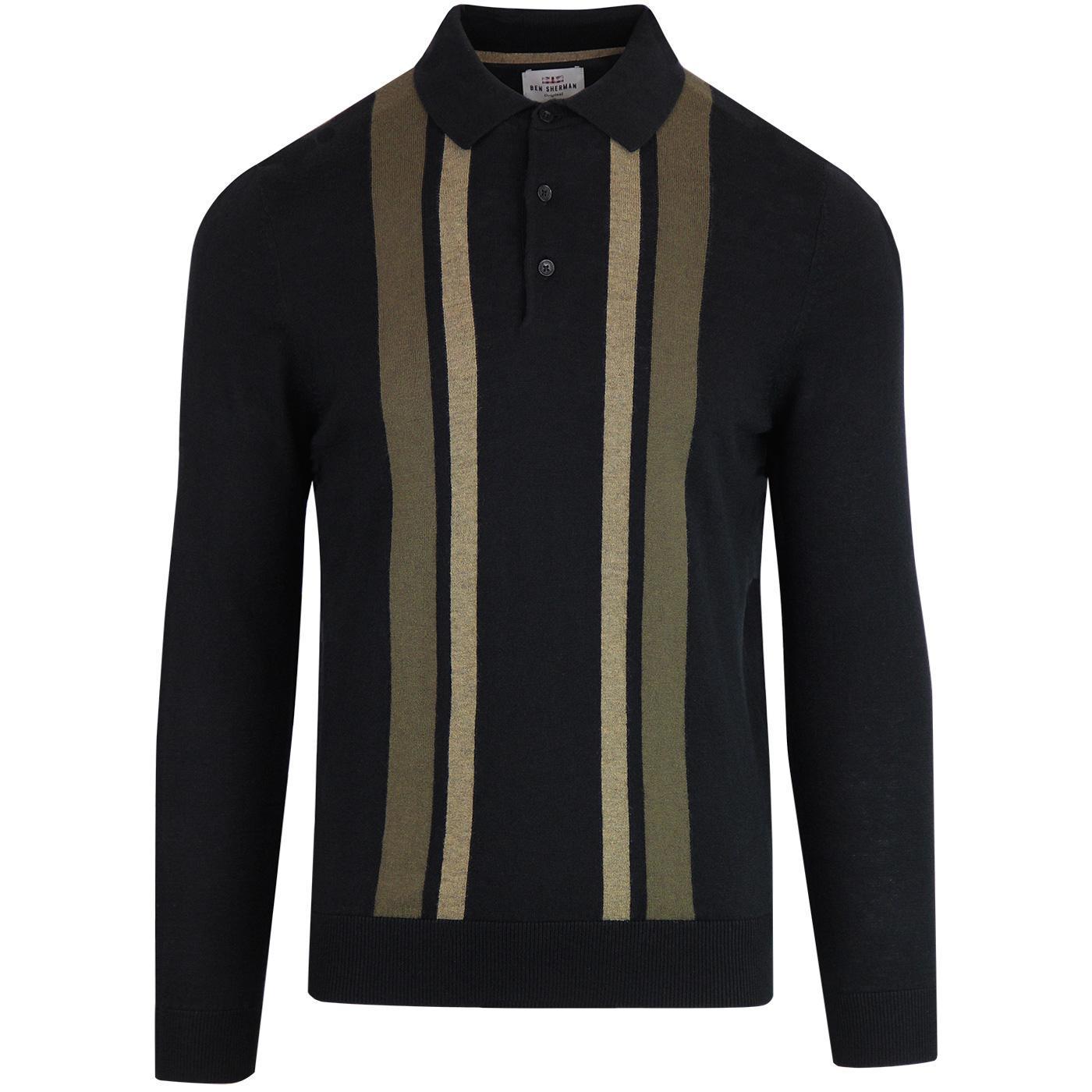 BEN SHERMAN 60's Block Stripe Knitted Mod Polo (B)